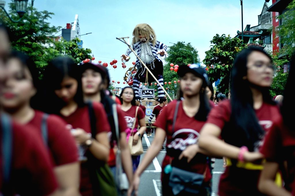 YOGYAKARTA, March 2, 2019 - Indonesian Hindus carry giant effigies locally known as 'Ogoh-ogoh' ahead of Nyepi day, the day of silence, at Malioboro Street in Yogyakarta, Indonesia, March 2, 2019. ...