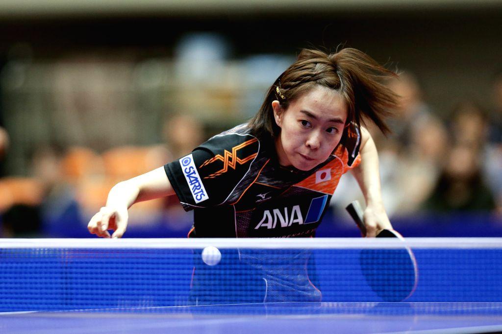YOKOHAMA, April 7, 2018 - Ishikawa Kasumi of Japan hits a return during the semifinal of women's singles against Chen Meng of China at the 2018 Table Tennis Asian Cup in Yokohama, Japan, on April 7, ...