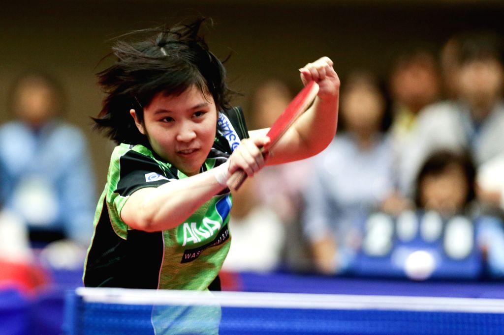 YOKOHAMA, April 7, 2018 - Miu Hirano of Japan hits a return during the quarterfinal of women's singles against Zhu Yuling of China at the 2018 Table Tennis Asian Cup in Yokohama, Japan, on April 7, ...