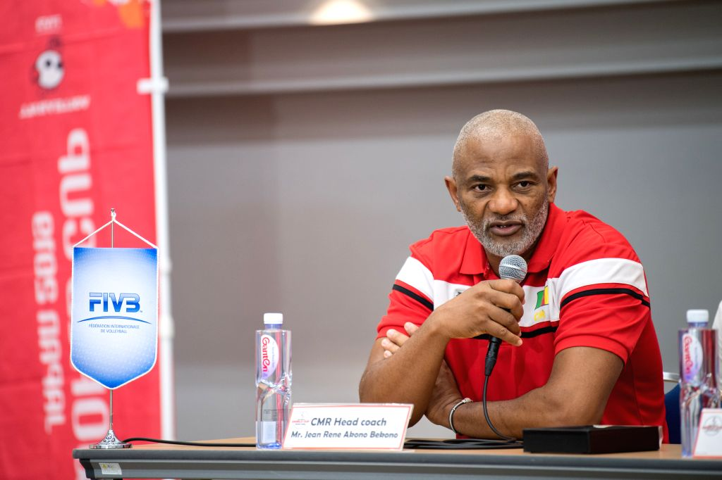YOKOHAMA, Sept. 13, 2019 - Jean Rene Akono Bekono, head coach of Cameroon, speaks at the pre-match press conference at the 2019 Volleyball Women's World Cup in Yokohama, Japan, Sept. 13, 2019.