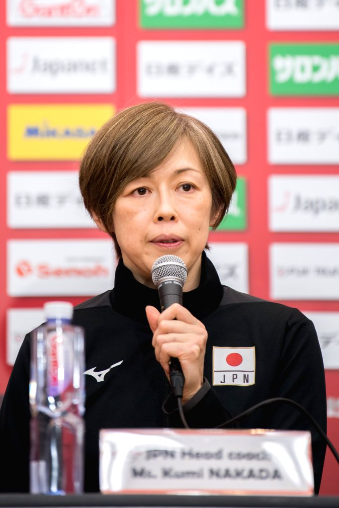 YOKOHAMA, Sept. 13, 2019 - Kumi Nakada, head coach of Japan, speaks at the pre-match press conference at the 2019 Volleyball Women's World Cup in Yokohama, Japan, Sept. 13, 2019.