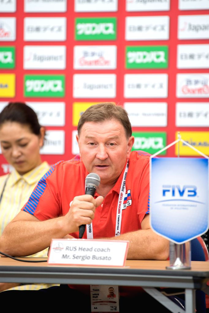 YOKOHAMA, Sept. 13, 2019 - Sergio Busato, head coach of Russia, speaks at the pre-match press conference at the 2019 Volleyball Women's World Cup in Yokohama, Japan, Sept. 13, 2019.