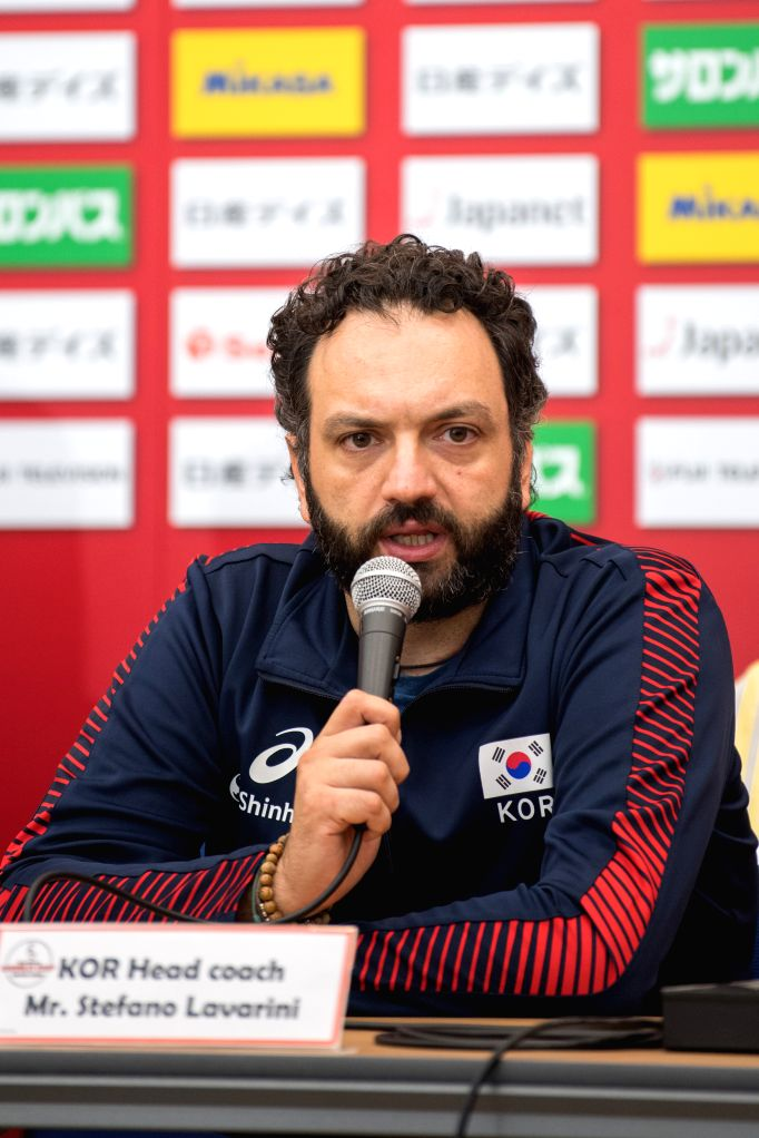 YOKOHAMA, Sept. 13, 2019 - Stefano Lavarini, head coach of South Korea, speaks at the pre-match press conference at the 2019 Volleyball Women's World Cup in Yokohama, Japan, Sept. 13, 2019.
