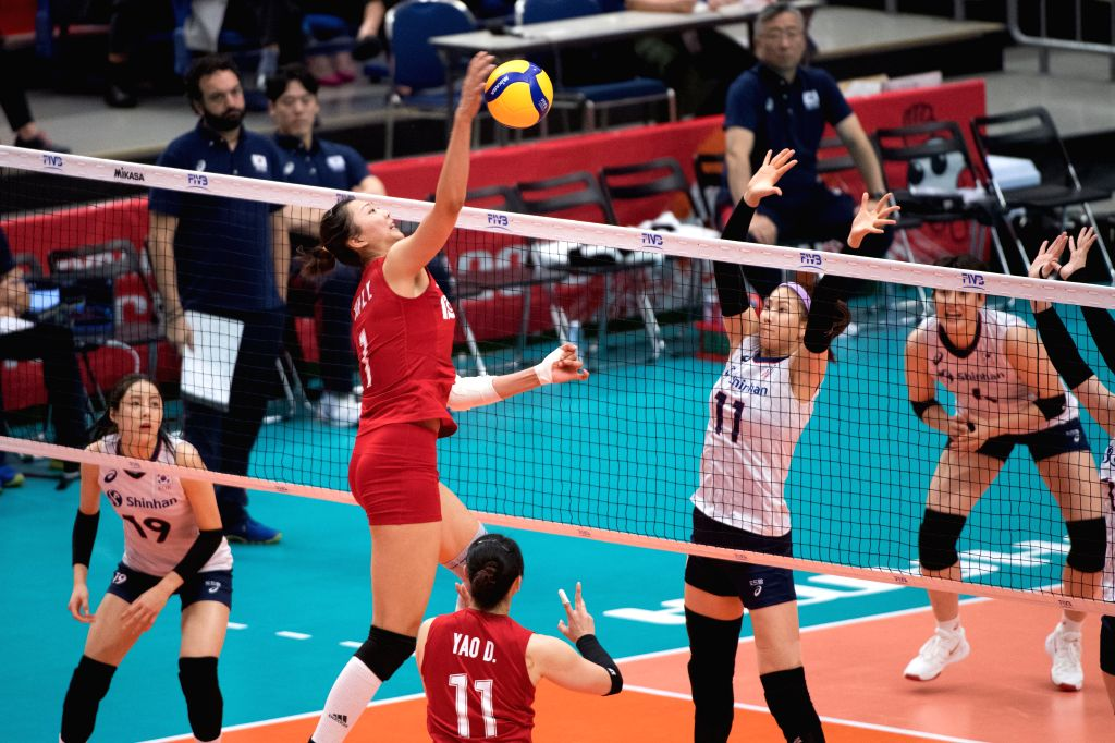 YOKOHAMA, Sept. 14, 2019 - Yuan Xinyue (2nd L) of China spikes the ball during the Round Robin match between China and South Korea at 2019 Volleyball Women's World Cup in Yokohama, Japan, Sept. 14, ...