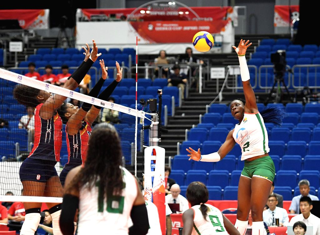YOKOHAMA, Sept. 16, 2019 - Christelle Tchoudjang Nana (1st R) of Cameroon competes during the round robin match between the Dominican Republic and Cameroon at the 2019 FIVB Volleyball Women's World ...