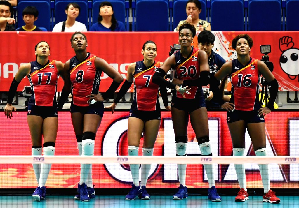 YOKOHAMA, Sept. 16, 2019 - Players of the Dominican Republic wait for the result of challenge during the round robin match between the Dominican Republic and Cameroon at the 2019 FIVB Volleyball ...