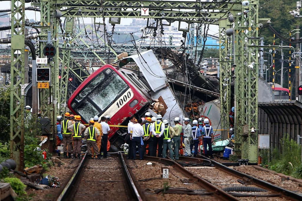 YOKOHAMA, Sept. 5, 2019 (Xinhua) -- The collided train is seen at the accident scene in Yokohama, Japan, Sept. 5, 2019. One man has been confirmed dead and dozens of people were injured after a train collided with a truck in Yokohama, south of Tokyo,