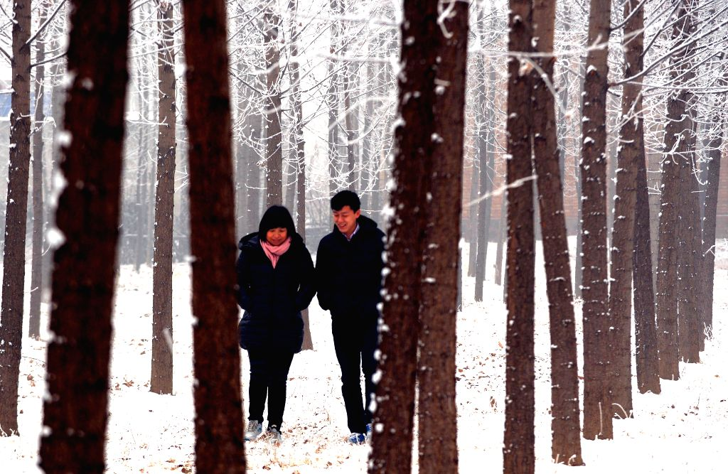 Local residents walk in snow in Yongqing County of Langfang, north China's Hebei Province, Jan. 15, 2015. Langfang saw its first snowfall in 2015 on Jan. 14. ...
