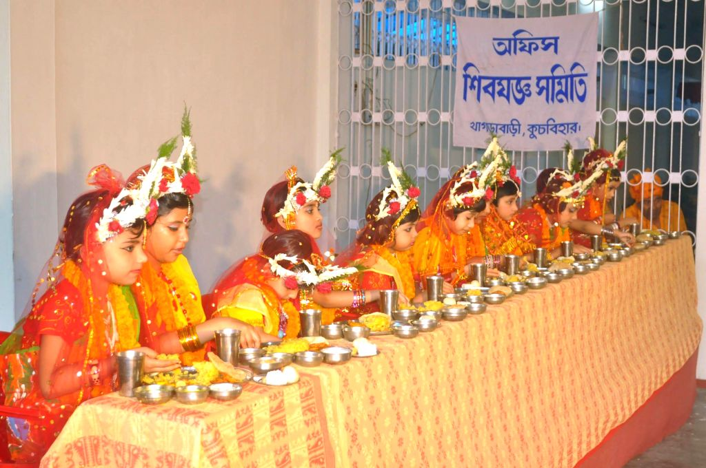 Young girls during Kumari Puja in Cooch Behar of West Bengal on May 4, 2014.
