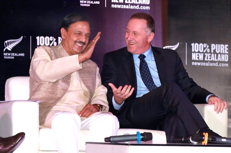 """Your Excellency, Prime Minister McCullum,\""  said Culture Minister Mahesh Sharma ​while addressing a press conference in​ New Delhi on Oct 25, 2016. (Photo: Amlan Paliwal/IANS) - Mahesh Sharma"