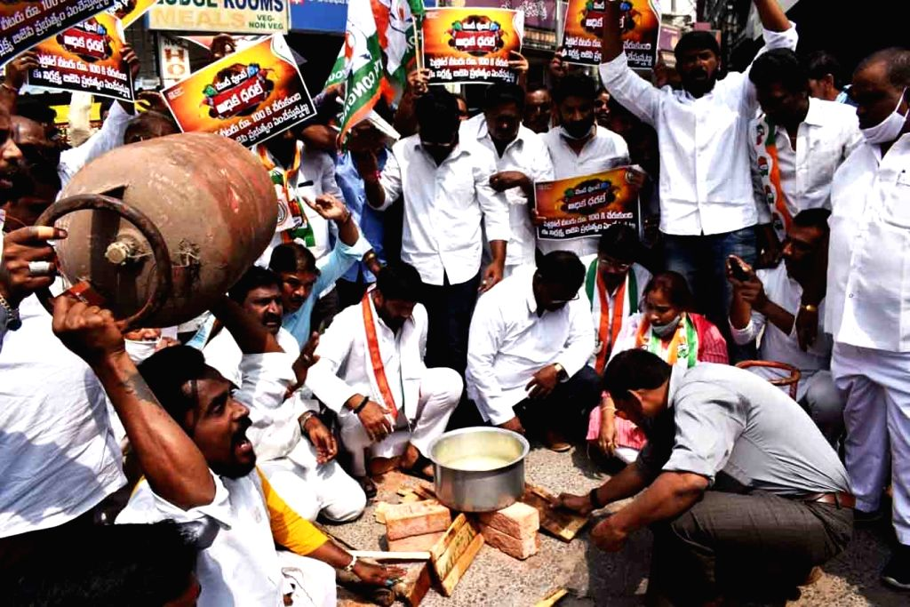 Youth congress activates protesting against the hike of cooking Gas (LPG) in Hyderabad on Friday 19th February 2021.