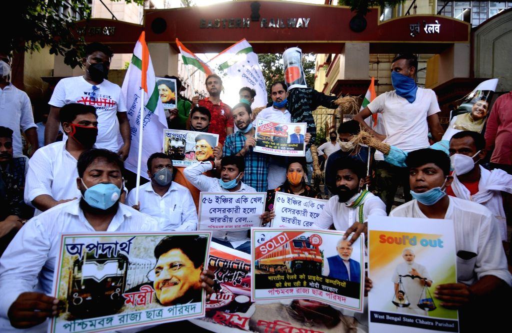 Youth Congress activists stage a demonstration against privatisation in the Railways, in Kolkata on July 3, 2020. The Railways on Wednesday announced that it has invited requests for ...