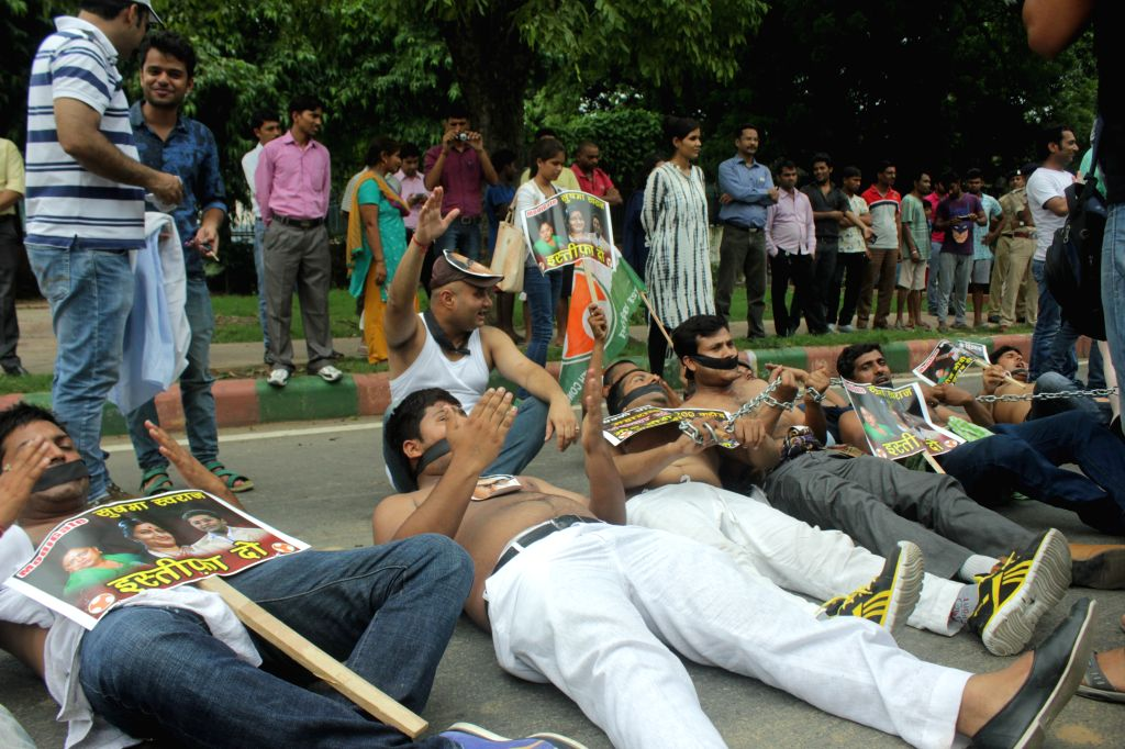 Youth Congress activists stage a demonstration against Modi Government at Raisina Road in New Delhi, on Aug 6, 2015.