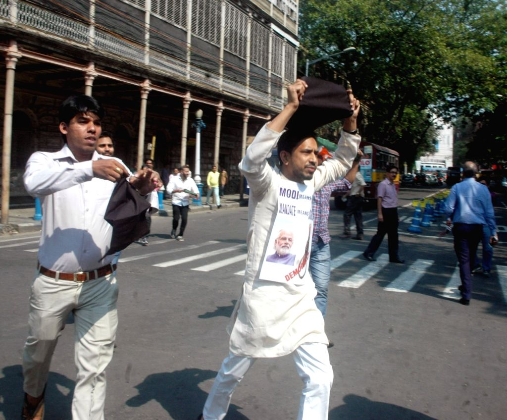 Youth Congress activists stage a demonstration against Central Government in front of Raj Bhawan in Kolkata, on March 15, 2017.