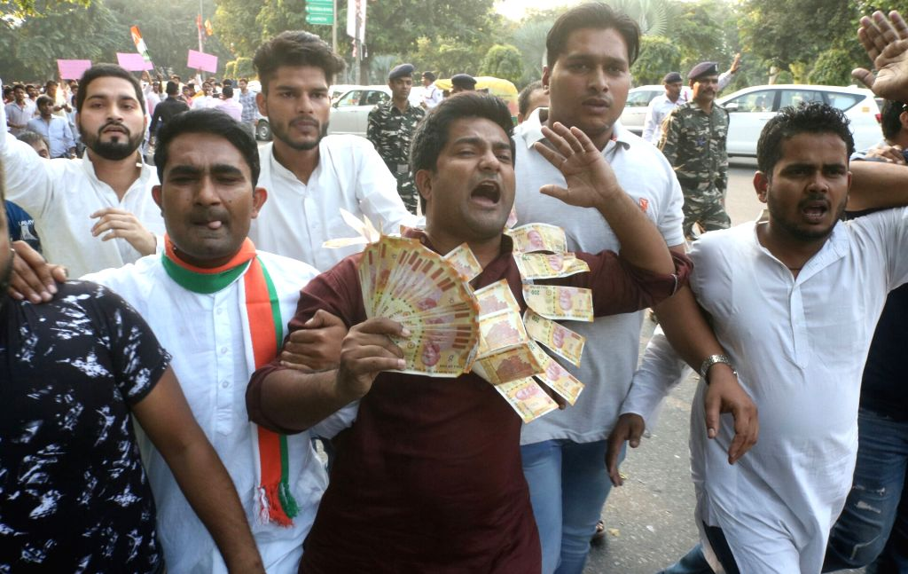 Youth Congress activists stage a demonstration against Jay Shah, son of BJP chief Amit Shah in New Delhi, on Oct 10, 2017. - Amit Shah