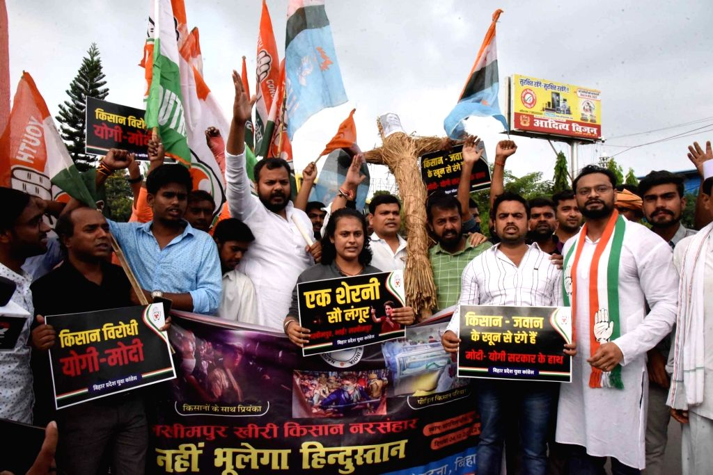 Youth Congress activists stage protest over the Lakhimpur Kheri incident, in Patna on Monday, Oct. 4,2021.
