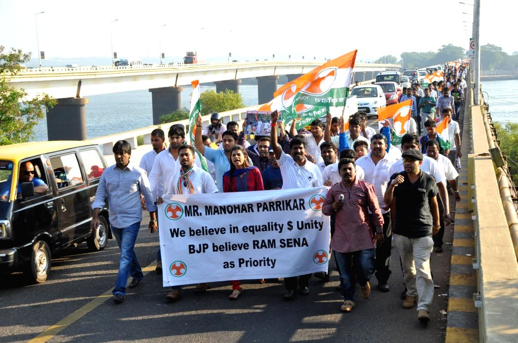 Youth Congress activists take out a rally led by their president Velanka Alemao against Ram Sena in Panaji on Dec.20, 2013.