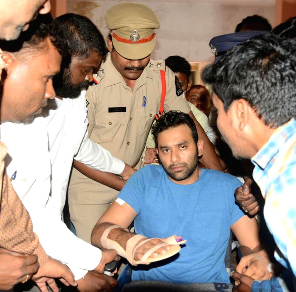 Youth Congress leader M. Vikram Goud, who was injured in a firing stage-managed by him produced before the Nampally Criminal Court in Hyderabad on Aug 3, 2017.