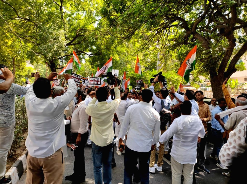Youth congress protest at DDU marg