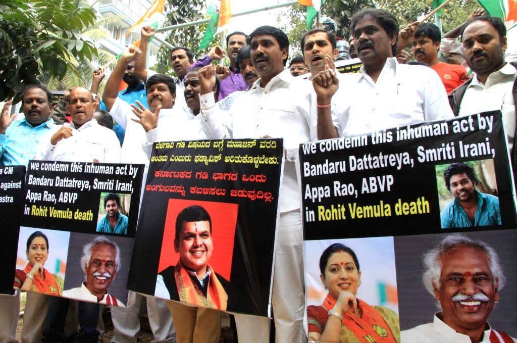 Youth Congress workers stage a demonstration against the suicide of Rohith Vemula, a Dalit research scholar of the University of Hyderabad who allegedly hanged himself to death after he ...