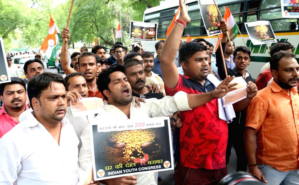 Youth Congress workers stage a demonstration against Prime Minister Narendra Modi in New Delhi, on May 26, 2016. - Narendra Modi