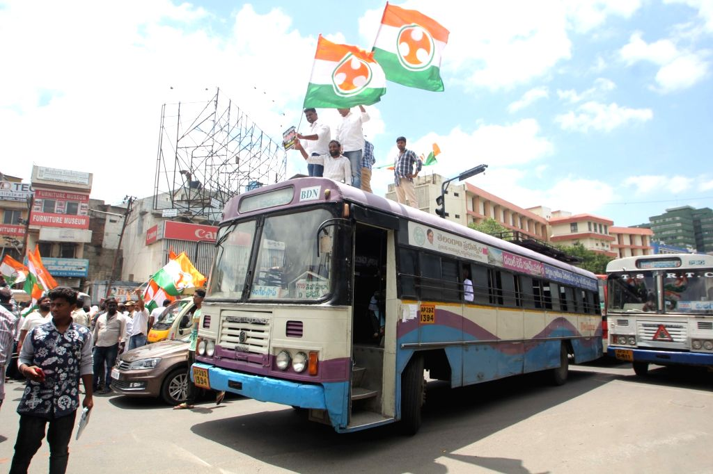 Youth Congress workers stage a demonstration against the hike in electricity tarrif and RTC bus fare in Hyderabad on June 25, 2016.
