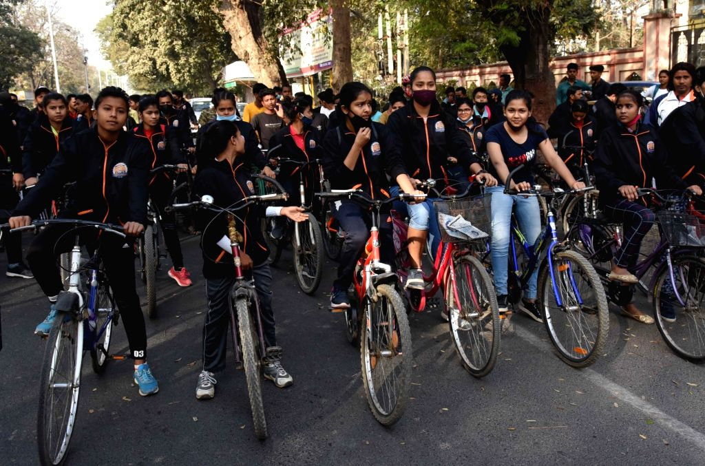 Youth participate in a cycle rally for a safe environment in Patna on Sunday 28th February,2021.