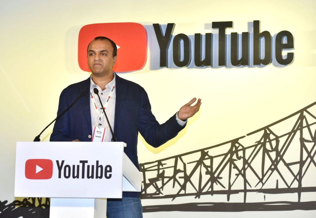 YouTube India Director Content Partnership Satya Raghavan addresses during a programme in Kolkata on Oct 17, 2019.