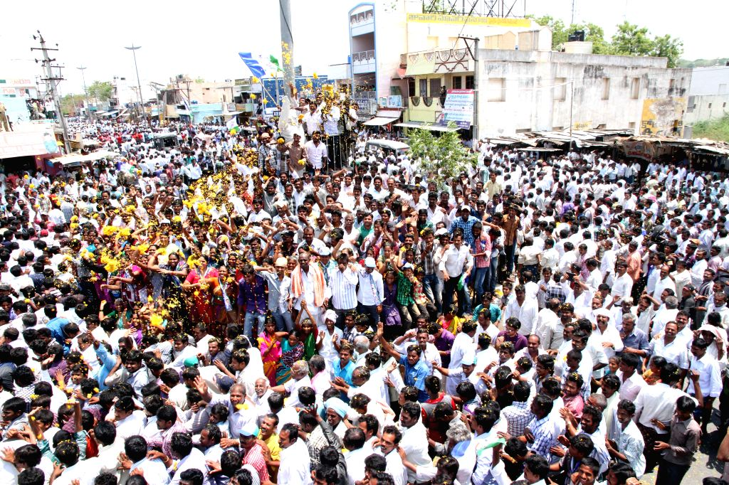 YSR Congress chief YS Jagan Mohan Reddy filing his nomination papers for Pulivendula assembly constituency in Pulivendula, Andhra Pradesh on April 17, 2014.