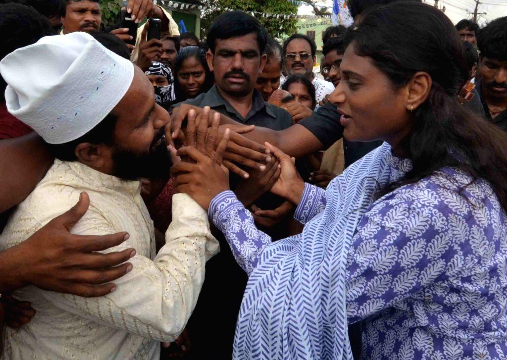 YSR Congress leader Sharmila at a padayatra in Vijayawada