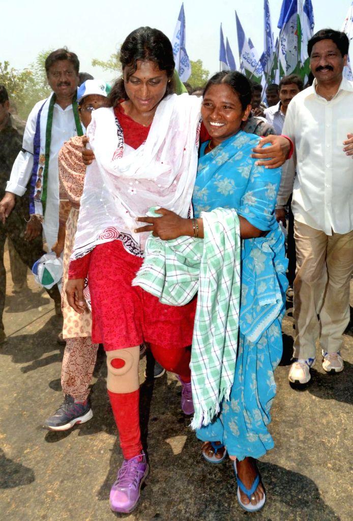 YSR Congress leader Sharmila during a padayatra at Vijayawada