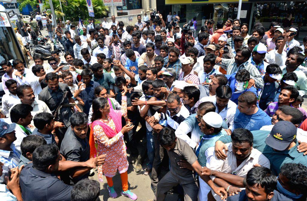 YSR Congress leader Y. S. Sharmila addresses during an election campaign at Narsipatnam in Krishna Nagar of Hyderabad on April 20, 2014.