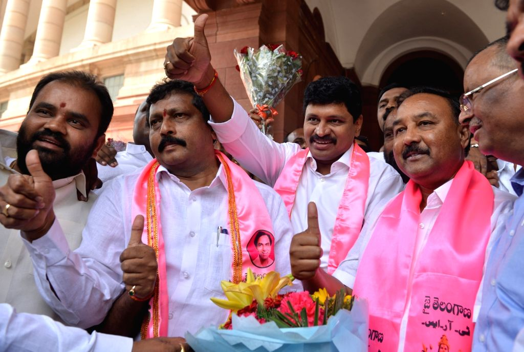 YSR Congress MPs stage a demonstration to press for special economic status FOR Andhra Pradesh, at Parliament in New Delhi on April 4, 2018.