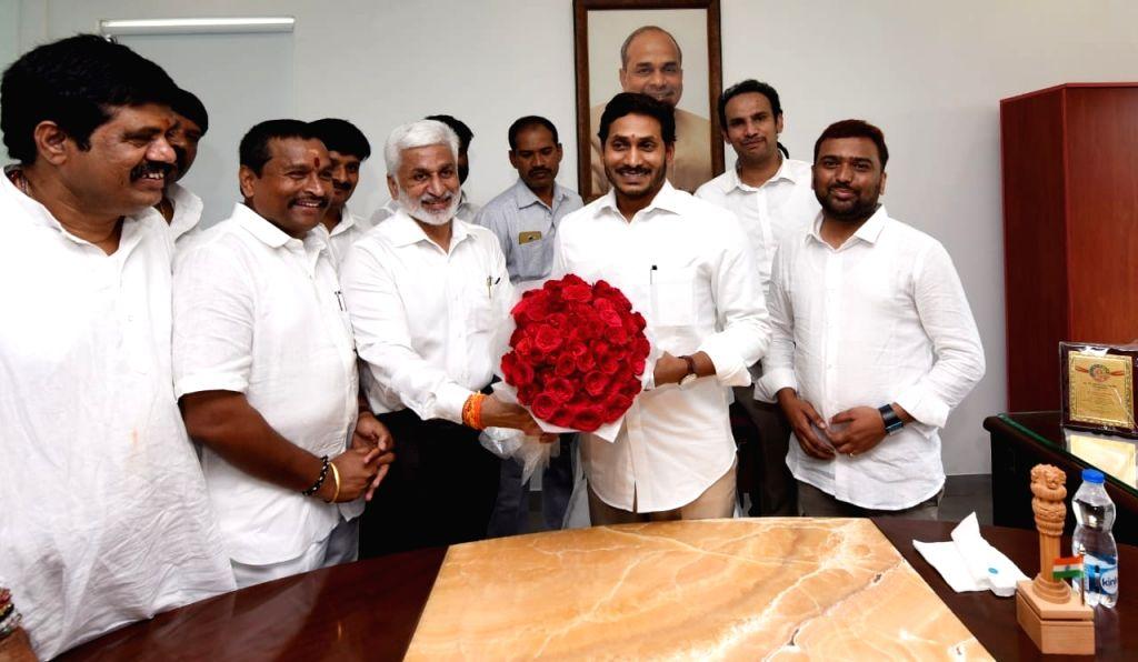 YSR Congress Party National General Secretary V. Vijayasai Reddy calls on Andhra Pradesh Chief Minister Y.S. Jagan Mohan Reddy, in Vijayawada on Aug 10, 2019. - Y.