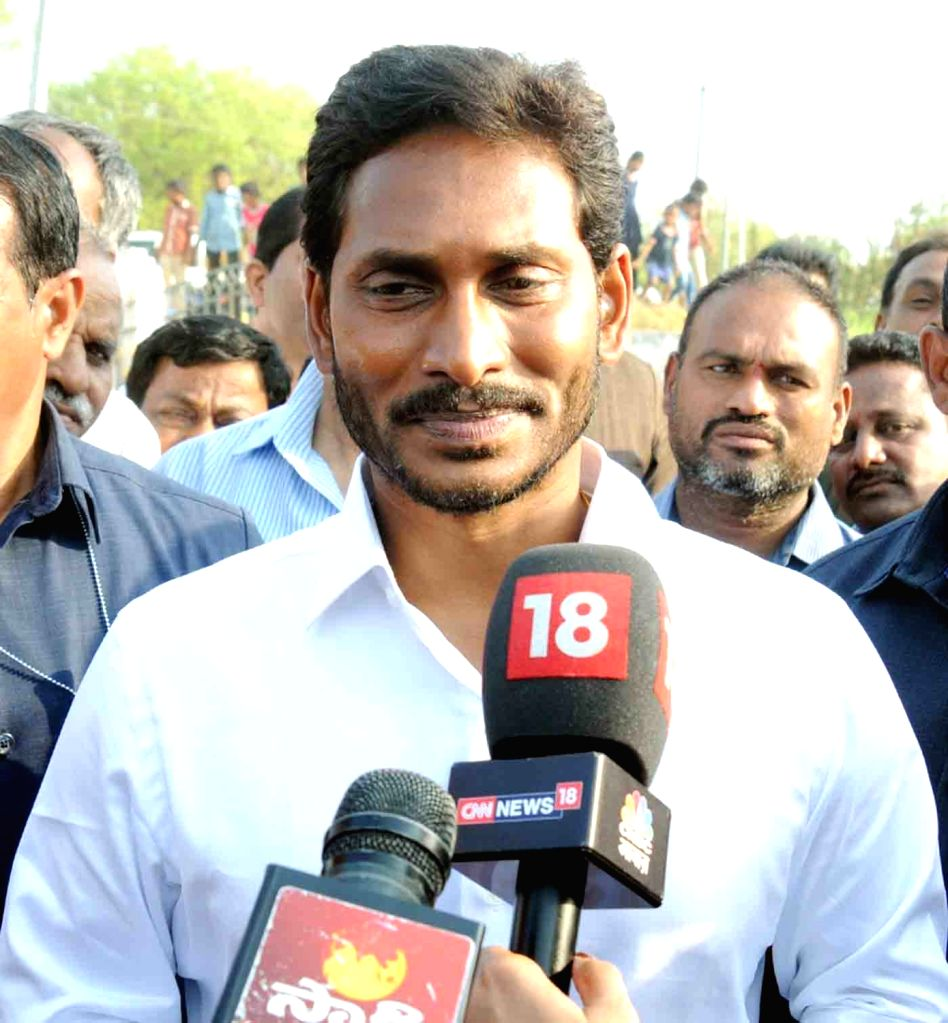 YSR Congress Party President Y.S. Jagan Mohan Reddy talks to press after casting his vote for the first phase of 2019 Lok Sabha elections in Andhra Pradesh's Pulivendula on April 11, ...