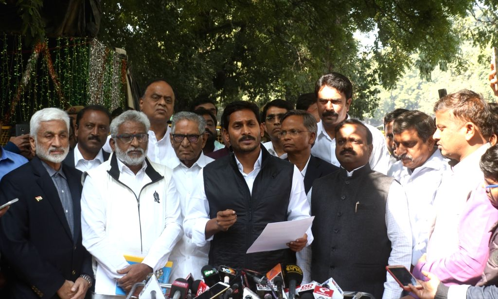 YSR Congress Party (YSRCP) President YS Jagan Mohan Reddy talks to media persons after meeting the Chief Election Commissioner in New Delhi, on Feb 4, 2019. - Jagan Mohan Reddy