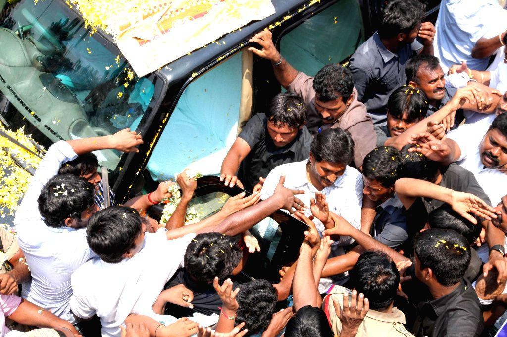 YSR Congress President Y.S. Jagan Mohan Reddy during a roadshow in Kadapa district of Andhra Pradesh on April 18, 2014.
