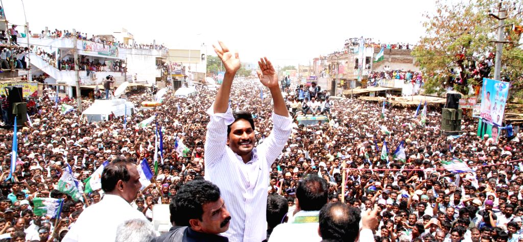 YSR Congress president Y.S. Jagan Mohan Reddy during an election campaign in Prakasam district of Andhra Pradesh on April 21, 2014.