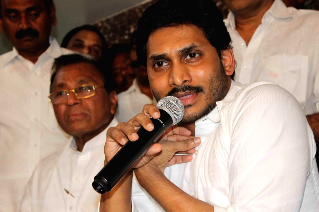 YSR Congress President Y S Jagan Mohan Reddy addresses media for the first time after being released from jail in Hyderabad on Sept.30, 2013. (Photo: IANS)