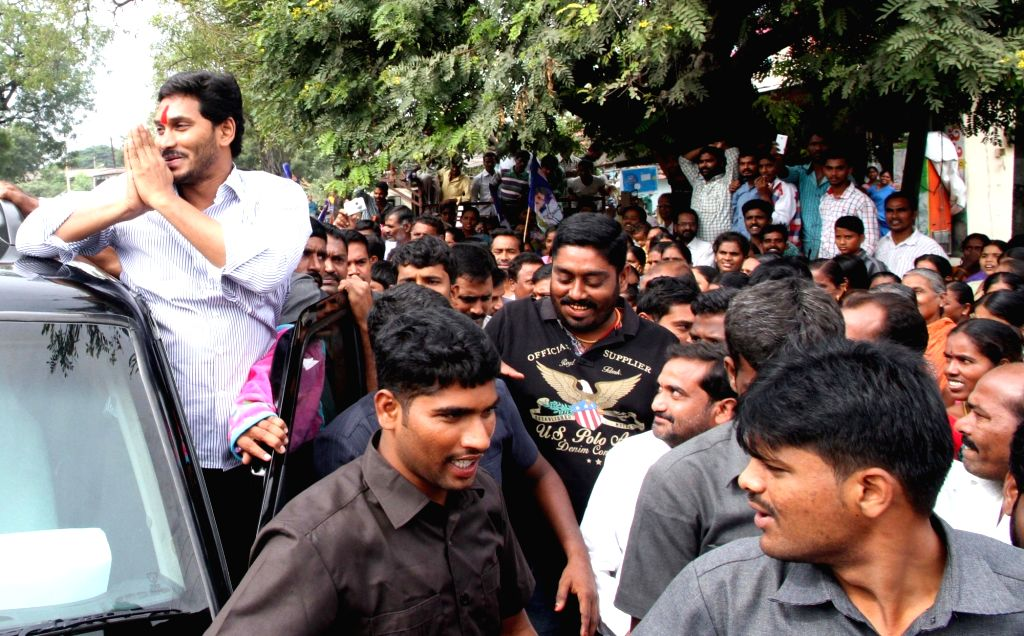 YSR Congress president YS Jagan Mohan Reddy during a public rally in Warangal, Telangana on Nov 17, 2015.