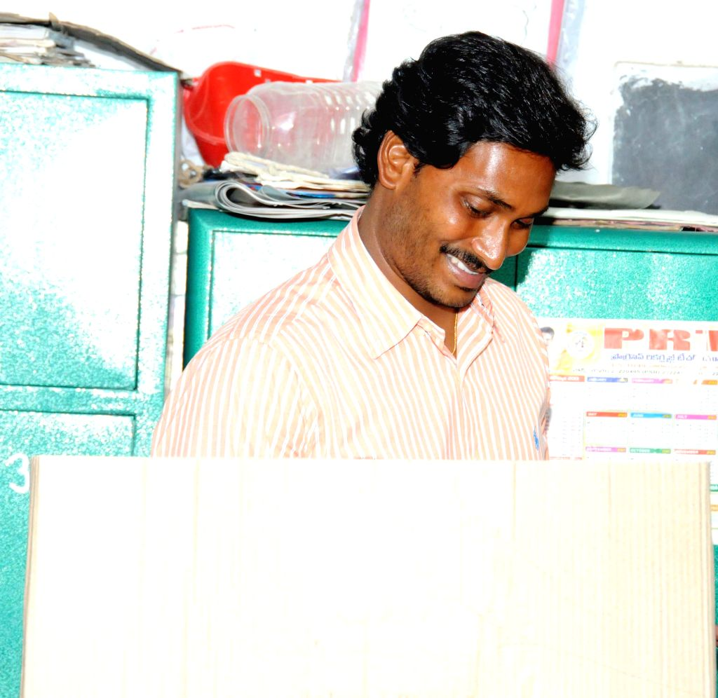 YSR Congress president YS Jaganmohan Reddy casts his vote at a polling booth during the eighth phase of 2014 Lok Sabha Polls at Pulivendula in Kadapa district of Andhra Pradesh on May 7, 2014.