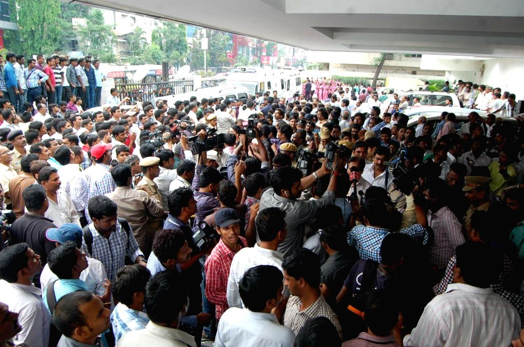 YSR Congress supporters gather outside the hospital where YSR Congress leader Shobha Nagireddy succumbed to the injuries sustained in a road accident en route to her native place Allagadda from ...
