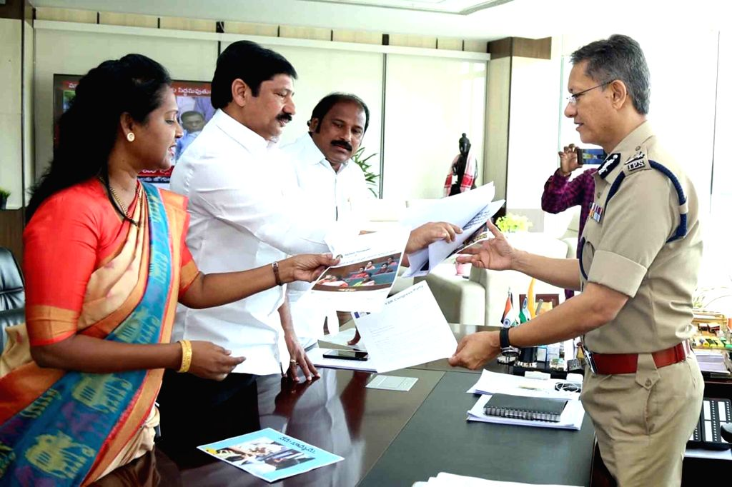 YSRCP leaders meet Andhra Pradesh Director General of Police Damodar Goutam Sawang over alleged objectionable social media posts put up by the TDP against the party, in Hyderabad on Oct 7, ...