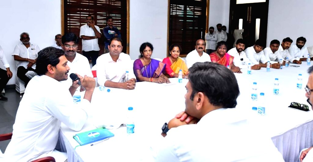 YSRCP president Y.S. Jagan Mohan Reddy addresses the newly elected MPs and MLAs at YSRC Legislature Party meeting at his residence in Tadepalli, Andhra Pradesh on May 25, 2019.