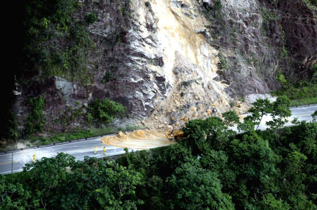 YURIMAGUAS, May 27, 2019 - Aerial photo provided by the Peruvian News Agency Andina shows a landslide caused by an earthquake in Yurimaguas, Peru, on May 26, 2019. An earthquake with a preliminary ...