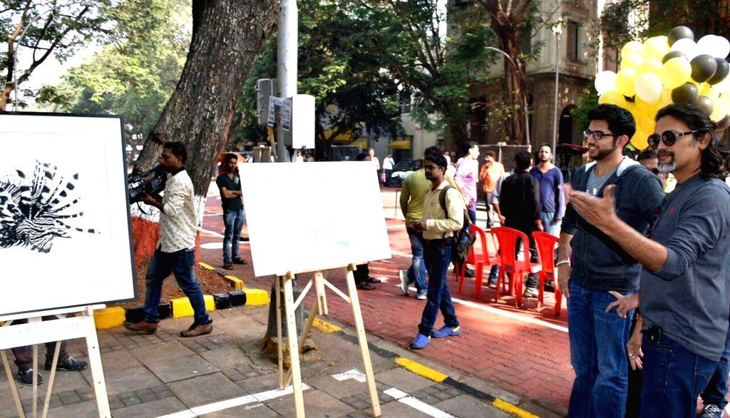 Yuva Sena chief Aditya Thackeray at the inauguration of  pedestrian street and open-air art gallery in Mumbai, on Oct 23, 2016.