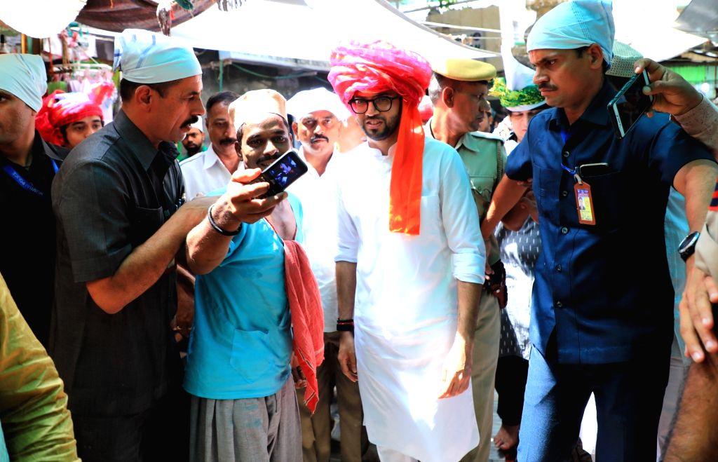 Yuva Sena President Aditya Thackeray arrives at the Ajmer Sharif Dargah, on June 8, 2019.