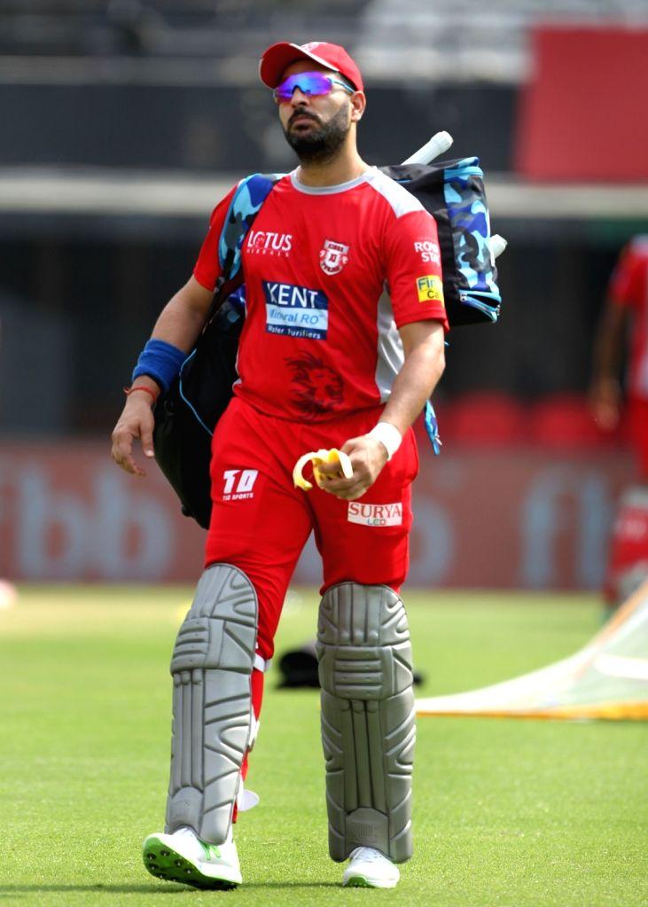 Yuvraj Singh of Kings XI Punjab, during a practice session in Mohali on April 7, 2018. - Yuvraj Singh