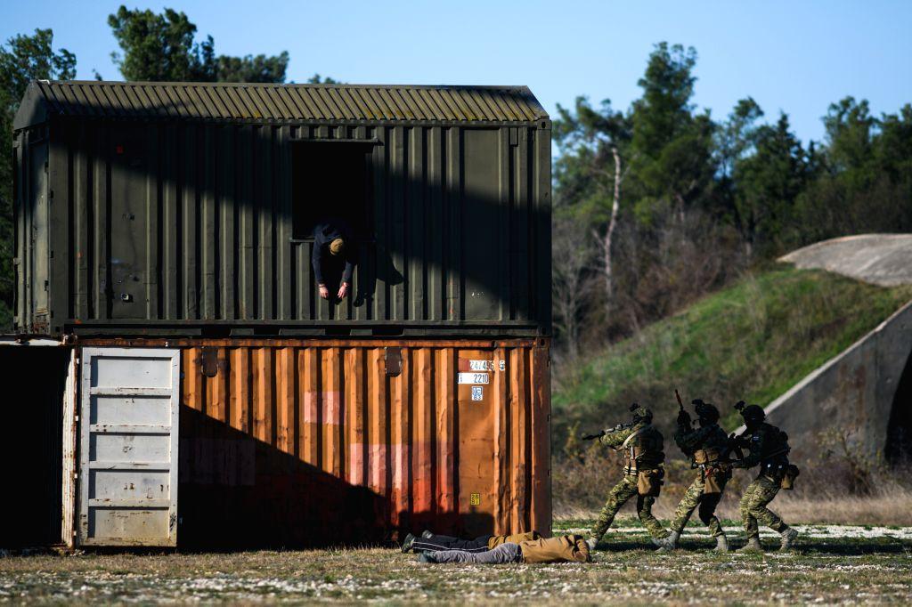 ZADAR (CROATIA), Dec. 11, 2019 Soldiers participate in a demonstration exercise at Zemunik military base in Zadar, Croatia, Dec. 11, 2019. An air force training center opened at Zemunik ...