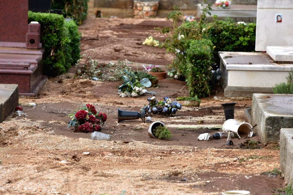 ZADAR (CROATIA), Sept. 12, 2017 Photo taken on Sept. 12, 2017 shows a cemetery damaged by flood in Zadar, Croatia. Heavy rain and flood hit the city of Zadar and some Adriatic islands in ...